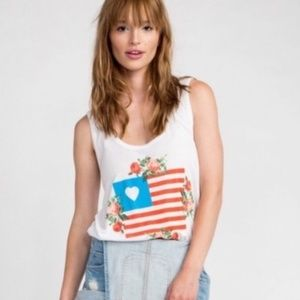 NEW Wildfox Granny's Flag Roadtrip Graphic Tank
